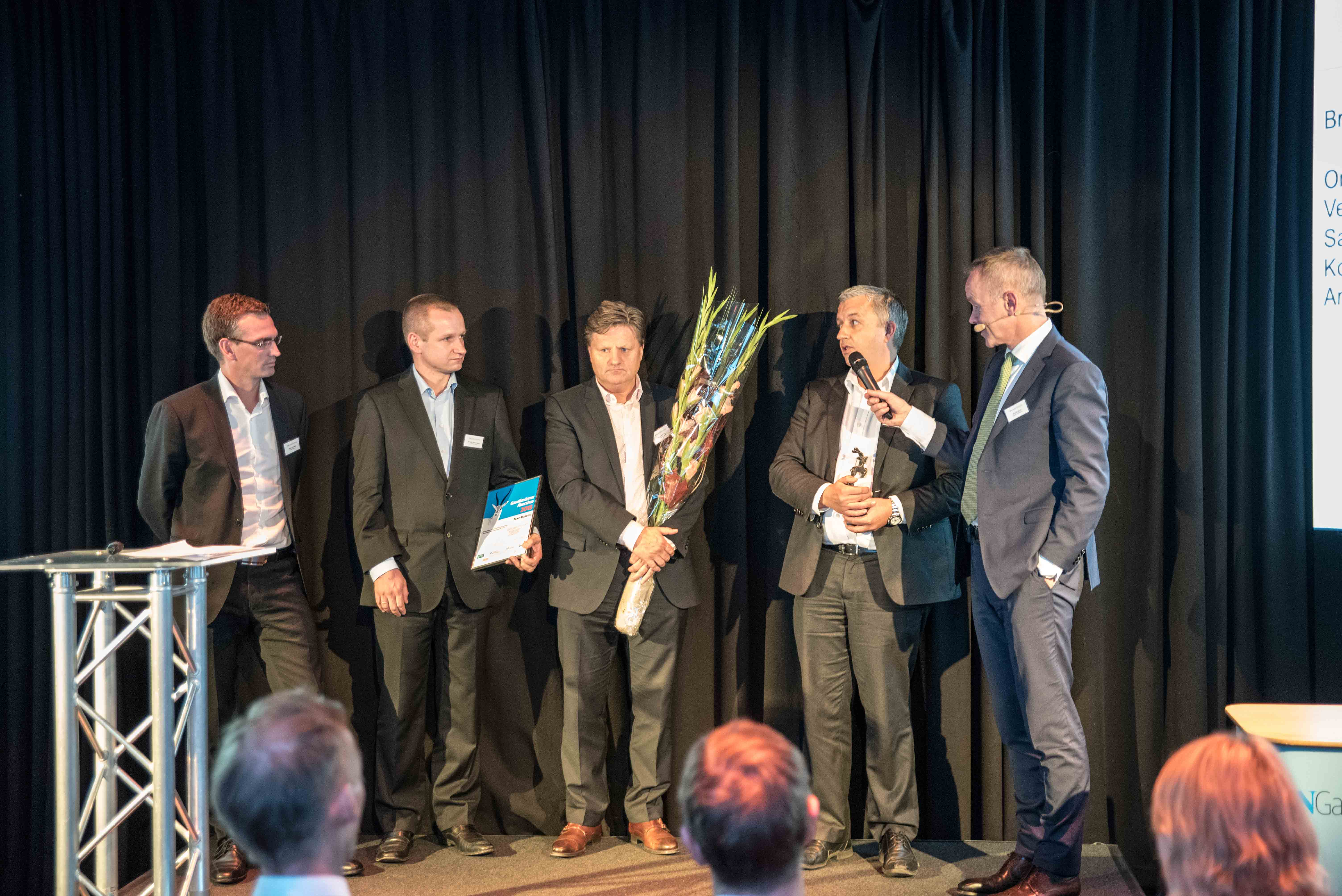 Fra venstre: admin.dir. NRC Rail AS - Anders Granshagen, Gjermund Sogn, Øivind Horpestad og Robert Norbeck, admin.dir. Team Bane AS.