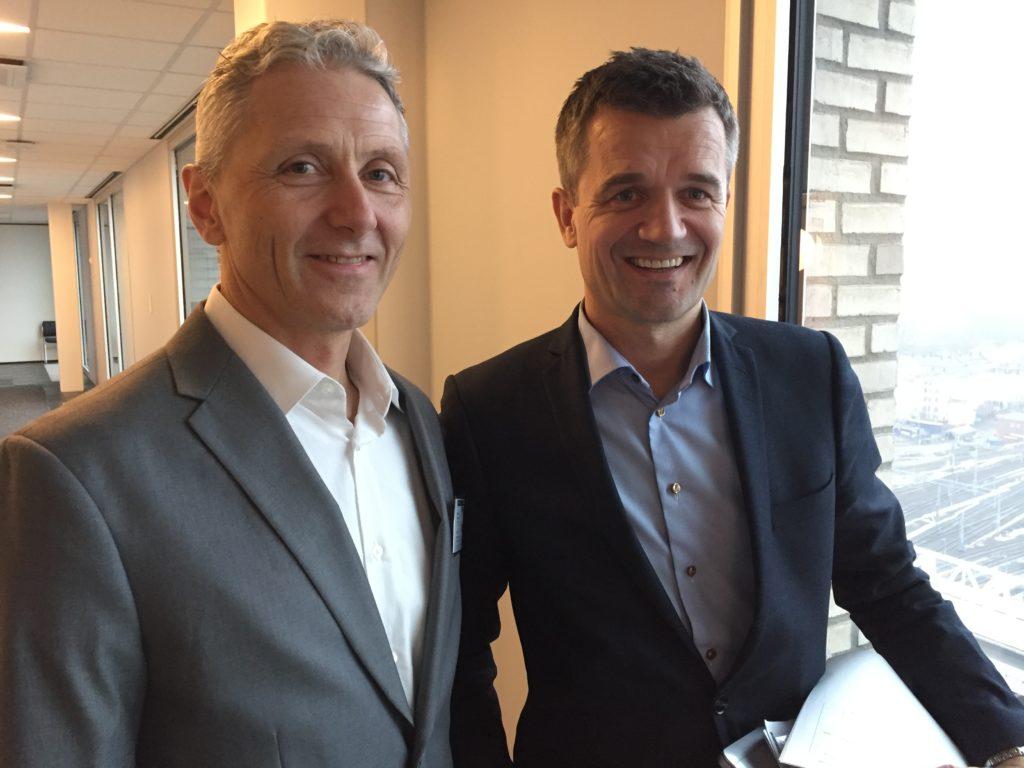Erik Haslev (Bambora) og Rune Garborg (Vipps) har store planer for neste år. Snart kan du Vippse i opp til 4000 nettbutikker.